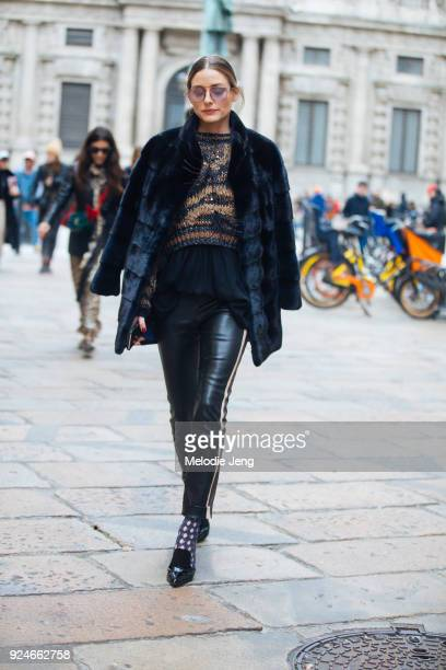 Olivia Palermo after MSGM during Milan Fashion Week Fall/Winter 2018/19 on February 25 2018 in Milan Italy