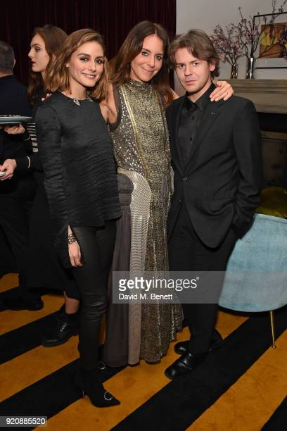Olivia Palermo Alison Loehnis and Christopher Kane attend a cocktail party in honour of Alison Loehnis' 10 year anniversary at NETAPORTER on February...