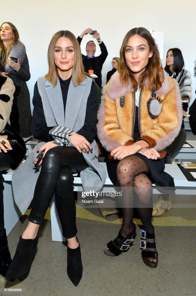 Olivia Palermo and Alexa Chung attend the front row for Noon by Noor during New York Fashion Week: The Shows at Gallery II at Spring Studios on February 8, 2018 in New York City.