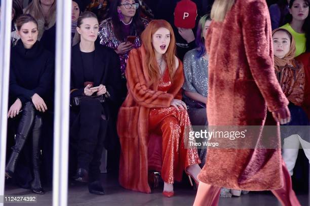 Olivia Palermo and Bella Thorne attend the Sally LaPointe front row during New York Fashion Week The Shows at Gallery I at Spring Studios on February...