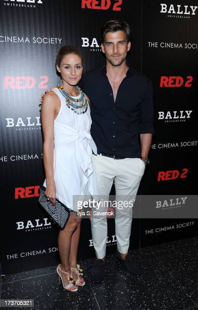 Olivia Palermo and boyfriend Johannes Huebl attend The Cinema Society And Bally Host A Screening Of Summit Entertainment's Red 2 at The Museum of...