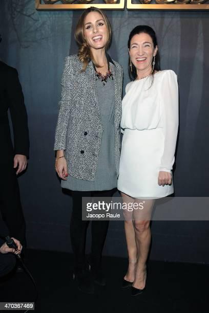 Olivia Palermo and designer Elisabetta Franchi attend Elisabetta Franchi Presentation during Milan Fashion Week Womenswear Autumn/Winter 2014 on...