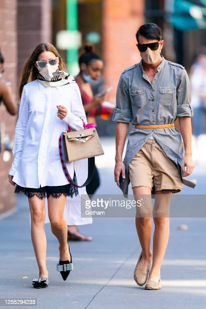Olivia Palermo and Edward Barsamian are seen in Chelsea on July 09, 2020 in New York City.