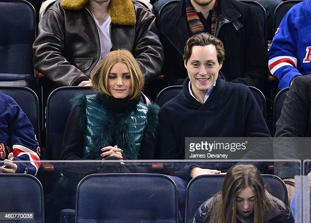 Olivia Palermo and Grant Palermo attend New York Rangers vs Carolina Hurricanes game at Madison Square Garden on December 21 2014 in New York City