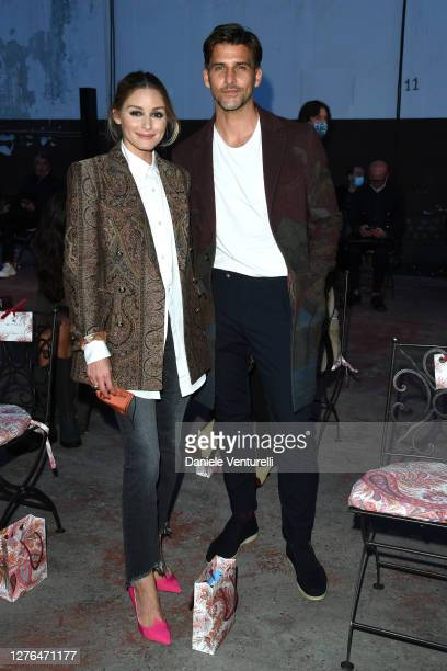 Olivia Palermo and Johannes Huebl are seen arriving at the Etro fashion show during the Milan Women's Fashion Week on September 24, 2020 in Milan,...
