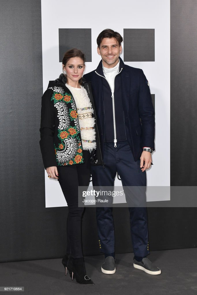 Olivia Palermo and Johannes Huebl are seen at the Moncler Genius event during Milan Fashion Week Fall/Winter 2018/19 on February 20, 2018 in Milan, Italy.