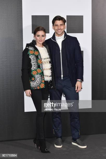 Olivia Palermo and Johannes Huebl are seen at the Moncler Genius event during Milan Fashion Week Fall/Winter 2018/19 on February 20 2018 in Milan...
