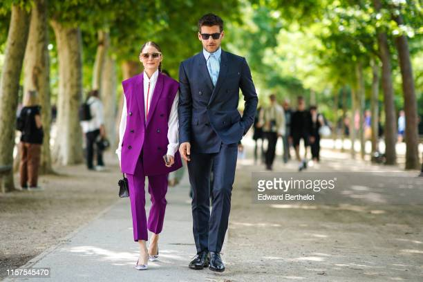 Olivia Palermo and Johannes Huebl are seen, outside Berluti, during Paris Fashion Week - Menswear Spring/Summer 2020, on June 21, 2019 in Paris,...