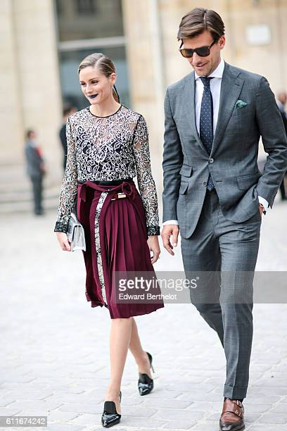 Olivia Palermo and Johannes Huebl are seen outside of the Christian Dior show during Paris Fashion Week Spring Summer 2017 at the Rodin museum on...