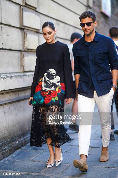 Olivia Palermo and Johannes Huebl are seen, outside Valentino, during Paris Fashion Week -Haute Couture Fall/Winter 2019/2020, on July 03, 2019 in...