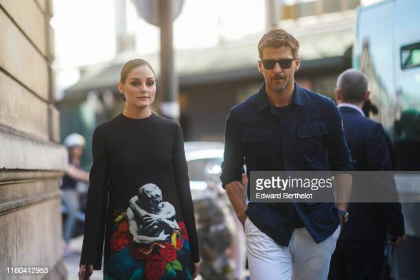Olivia Palermo and Johannes Huebl are seen outside Valentino during Paris Fashion Week Haute Couture Fall/Winter 2019/2020 on July 03 2019 in Paris...