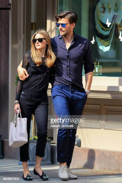 Olivia Palermo and Johannes Huebl are seen walking in Greenwich Village on April 13 2014 in New York City