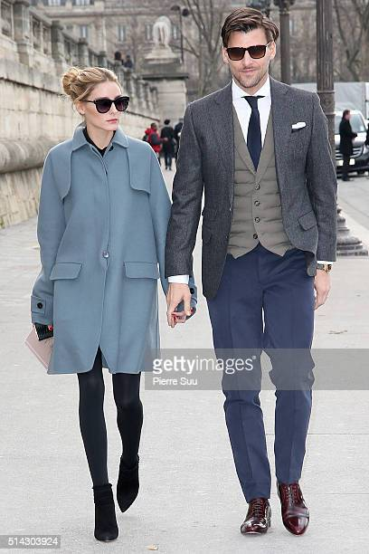 Olivia Palermo and Johannes Huebl arrive at the Valentino show as part of the Paris Fashion Week Womenswear Fall/Winter 2016/2017 on March 8 2016 in...