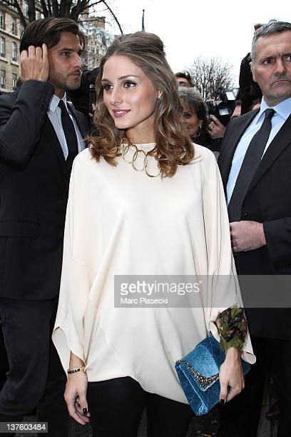 Olivia Palermo and Johannes Huebl arrive for the Dior HauteCouture 2012 show as part of Paris Fashion Week at Salons Christian Dior on January 23...