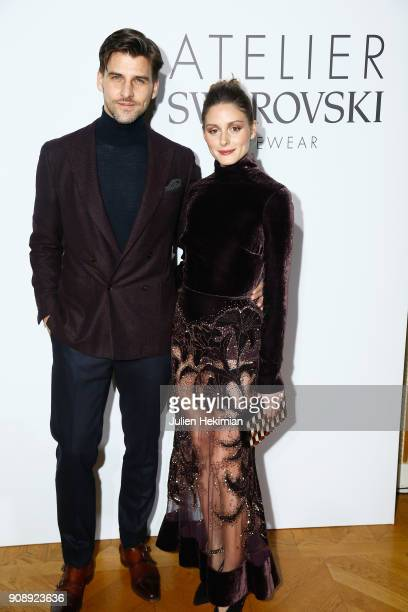 Olivia Palermo and Johannes Huebl attend the Atelier Swarovski Eyewear Dinner as part of Paris Fashion Week at Hotel Crillon on January 22 2018 in...