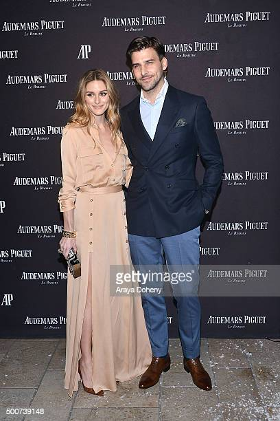 Olivia Palermo and Johannes Huebl attend the Audemars Piguet grand opening of Rodeo Drive Boutique at Audemars Piguet on December 9 2015 in Beverly...