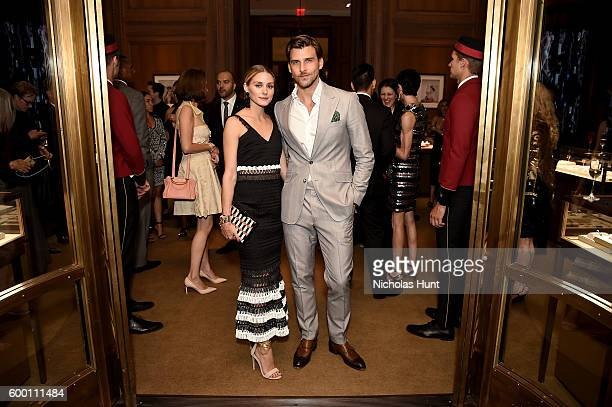 Olivia Palermo and Johannes Huebl attend the Cartier Fifth Avenue Grand Reopening Event at the Cartier Mansion on September 7 2016 in New York City
