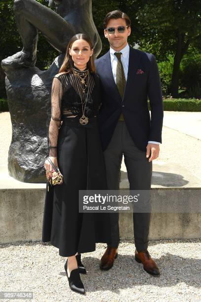 Olivia Palermo and Johannes Huebl attend the Christian Dior Haute Couture Fall Winter 2018/2019 show as part of Paris Fashion Week on July 2 2018 in...