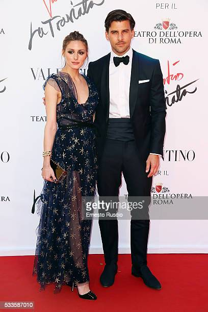 Olivia Palermo and Johannes Huebl attend the 'La Traviata' Premiere at Teatro Dell'Opera on May 22 2016 in Rome Italy
