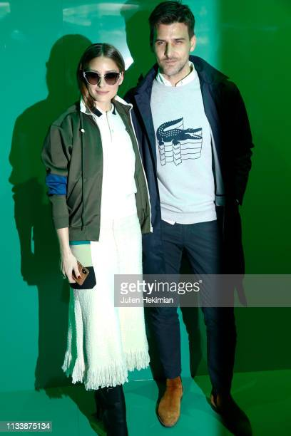 Olivia Palermo and Johannes Huebl attend the Lacoste show as part of the Paris Fashion Week Womenswear Fall/Winter 2019/2020 on March 05 2019 in...