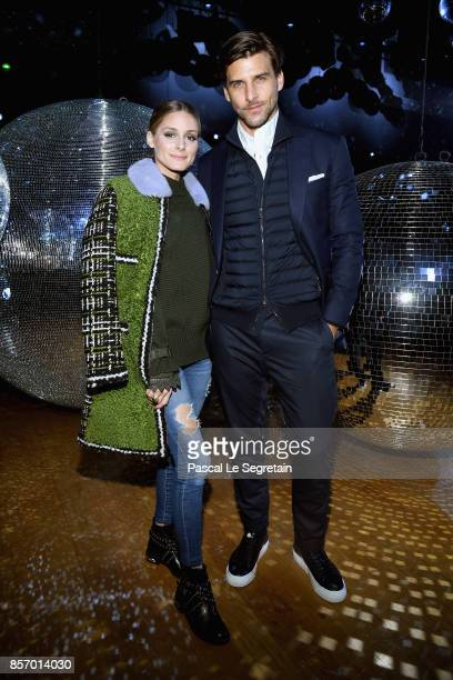 Olivia Palermo and Johannes Huebl attend the Moncler Gamme Rouge show as part of the Paris Fashion Week Womenswear Spring/Summer 2018 on October 3...