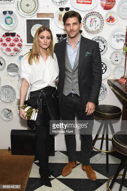 Olivia Palermo and Johannes Huebl attend the Oliver Peoples Pour Berluti Launch Celebration at Sant Ambroeus SoHo on March 28 2017 in New York City