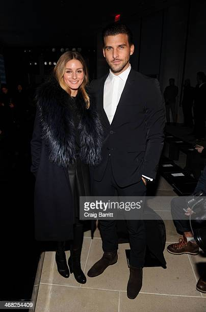 Olivia Palermo and Johannes Huebl attend the Porsche Design presentation during MercedesBenz Fashion Week at IAC Building on February 9 2014 in New...