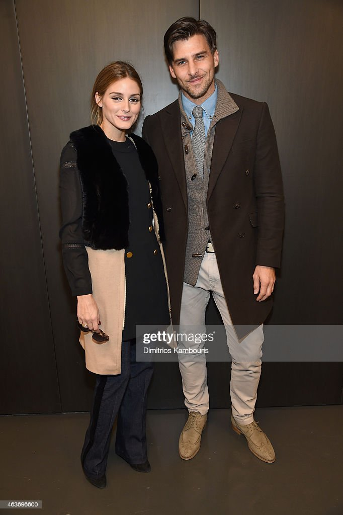 Olivia Palermo and Johannes Huebl attend the Rachel Zoe presentation during Mercedes-Benz Fashion Week Fall 2015 at Affirmation Arts on February 17, 2015 in New York City.