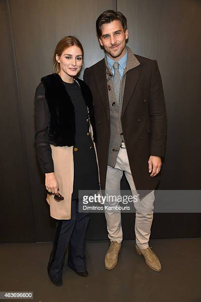 Olivia Palermo and Johannes Huebl attend the Rachel Zoe presentation during MercedesBenz Fashion Week Fall 2015 at Affirmation Arts on February 17...