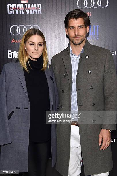 Olivia Palermo and Johannes Huebl attend the screening Of Marvel's Captain America Civil War hosted by The Cinema Society with Audi FIJI at Henry R...