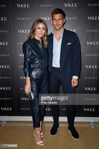 Olivia Palermo and Johannes Huebl attend the Souraya x Vogue Arabia Dinner & Runway Show Paris Fashion Week Event on September 25, 2019 in Paris,...