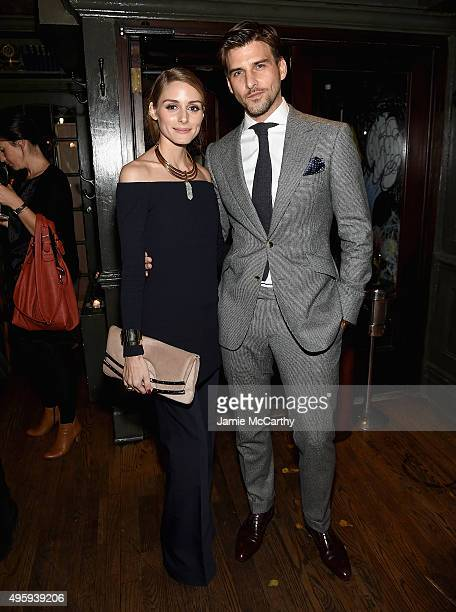 Olivia Palermo and Johannes Huebl attend the the after party for the 'Spectre' prerelease screening hosted by Champagne Bollinger and The Cinema...