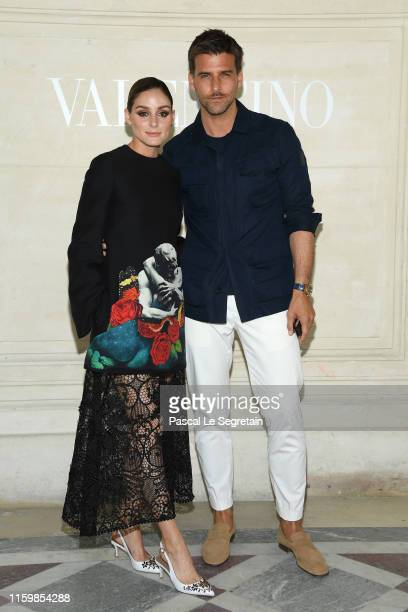 Olivia Palermo and Johannes Huebl attend the Valentino Haute Couture Fall/Winter 2019 2020 show as part of Paris Fashion Week on July 03 2019 in...