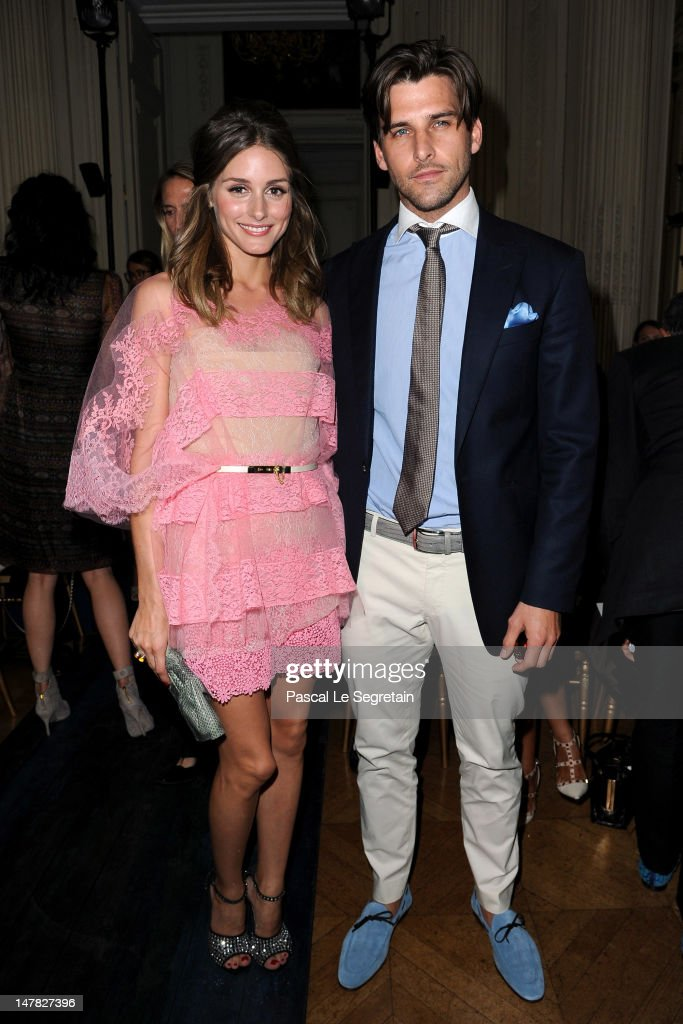 Olivia Palermo and Johannes Huebl attend the Valentino Haute-Couture show as part of Paris Fashion Week Fall / Winter 2012/13 at Hotel Salomon de Rothschild on July 4, 2012 in Paris, France.