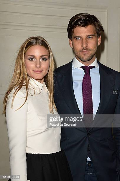 Olivia Palermo and Johannes Huebl attend the Valentino show as part of Paris Fashion Week Haute Couture Fall/Winter 20142015 at Hotel Salomon de...