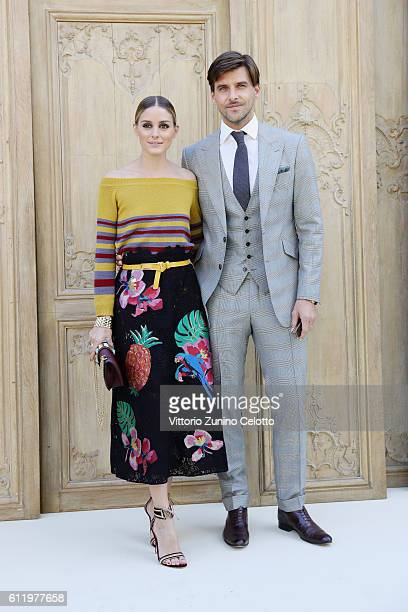 Olivia Palermo and Johannes Huebl attend the Valentino show as part of the Paris Fashion Week Womenswear Spring/Summer 2017 on October 2 2016 in...