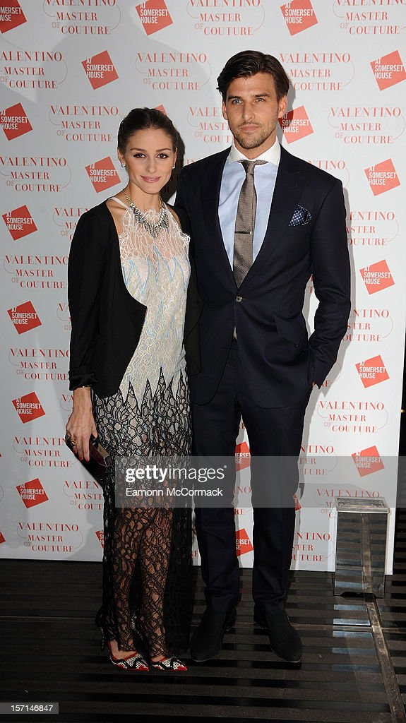 Olivia Palermo and Johannes Huebl attend the VIP view of Valentino: Master of Couture at Embankment Gallery on November 28, 2012 in London, England.