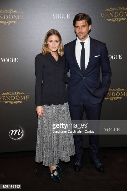 Olivia Palermo and Johannes Huebl attend Vogue Party as part of the Paris Fashion Week Womenswear Spring/Summer 2018 at on October 1 2017 in Paris...