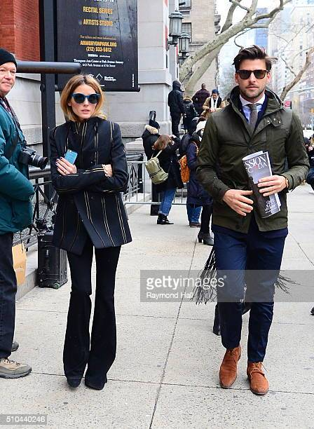 Olivia Palermo and Johannes Huebl is seen arriving at Tommy Hilfiger fashion show during Fall 2016 New York Fashion Week on February 15 2016 in New...