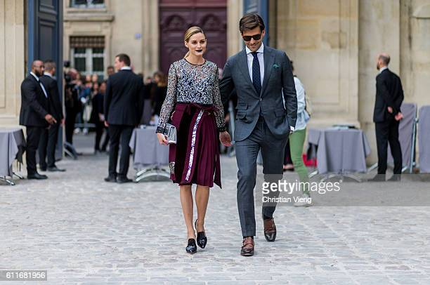 Olivia Palermo and Johannes Huebl outside of Dior on September 30, 2016 in Paris, France.
