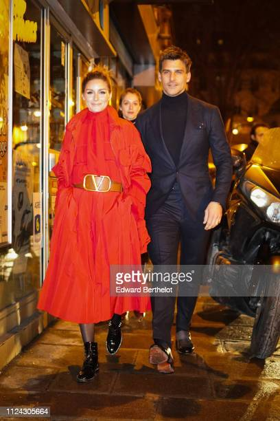 Olivia Palermo and Johannes Huebl outside Valentino during Paris Fashion Week Haute Couture Spring Summer 2020 on January 23 2019 in Paris France