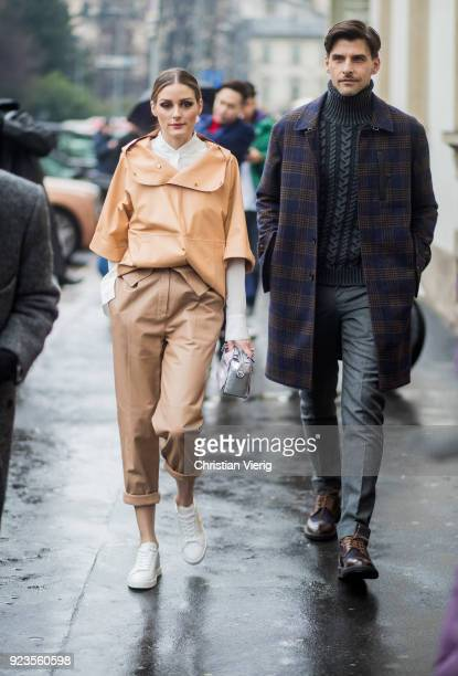 Olivia Palermo and Johannes Huebl seen outside Tods during Milan Fashion Week Fall/Winter 2018/19 on February 23 2018 in Milan Italy