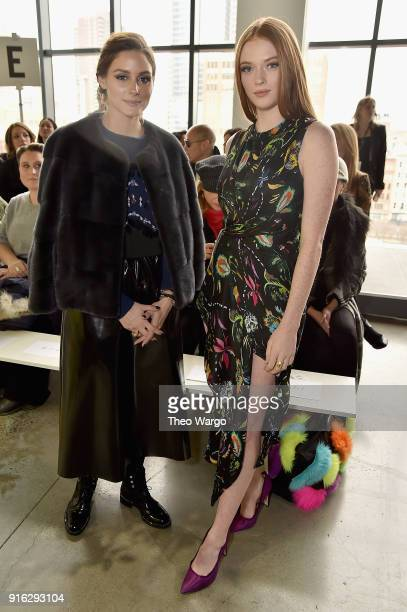 Olivia Palermo and Larsen Thompson attend the Jason Wu front row during New York Fashion Week The Shows at Gallery I at Spring Studios on February 9...