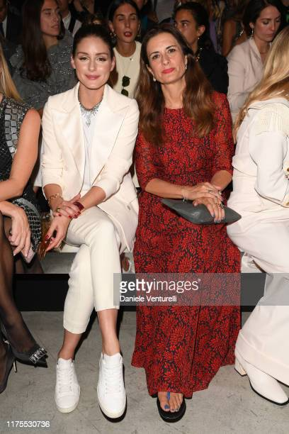 Olivia Palermo and Livia Firth attend the Alberta Ferretti fashion show during the Milan Fashion Week Spring/Summer 2020 on September 18, 2019 in...