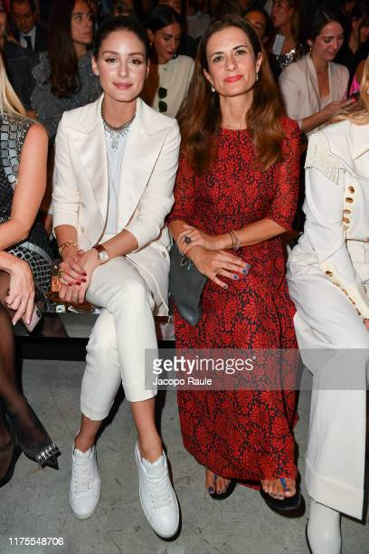 Olivia Palermo and Livia Firth attend the Alberta Ferretti fashion show during the Milan Fashion Week Spring/Summer 2020 on September 18 2019 in...