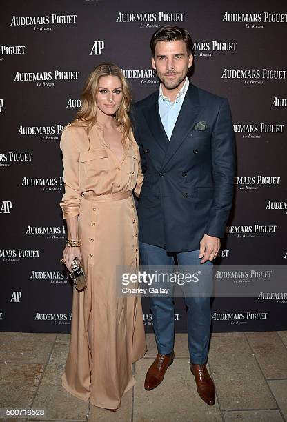 Olivia Palermo and model Johannes Huebl attend the Opening of Audemars Piguet Rodeo Drive at Audemars Piguet on December 9 2015 in Beverly Hills...