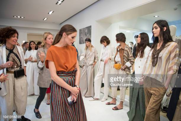 Olivia Palermo and models are seen at the Brunello Cucinelli presentation during Milan Fashion Week Spring/Summer 2019 on September 19 2018 in Milan...