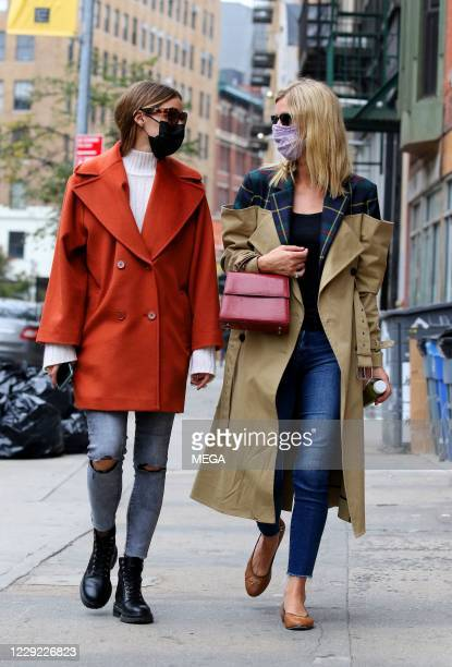 Olivia Palermo and Nicky Hilton are seen on October 22 2020 in New York City