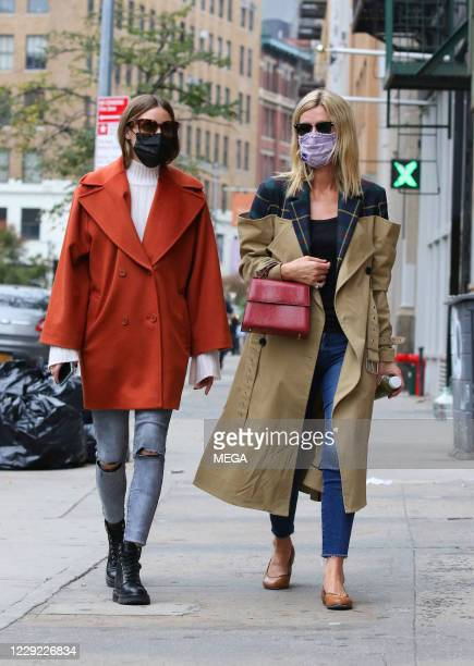 Olivia Palermo and Nicky Hilton are seen on October 22, 2020 in New York City.