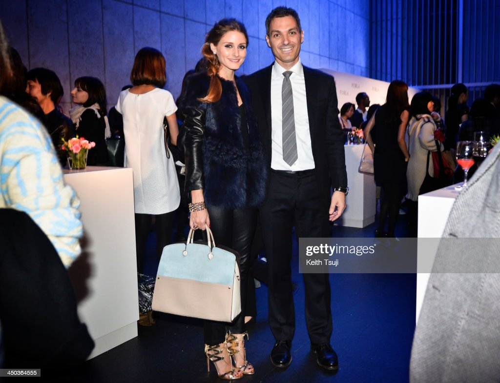 Olivia Palermo (L) and Ottaviano Conzato, the president of Furla Japan attend Furla Spring/Summer 2014 Collection Party at the Gallery of Horyuji Treasures of the Tokyo National Museum on November 18, 2013 in Tokyo, Japan.